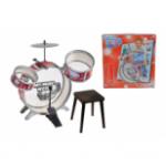 Барабанная установка с тарелками, барабанными палочками и стульчиком, 55см