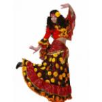 Карнавальный костюм Цыганка красно-желтая.