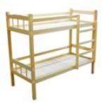 Кровать детская двухъярусная Массив, лак, ложе фанера 8мм  124/134/144*64*1400..