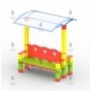 Диван двухсторонний с навесом из кубиков