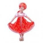 Русский народный костюм для девочки с кокошником,красно-бежевые узоры..