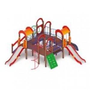 Детский игровой комплекс                           Дворик детства  Горка 1200                                           5950*7400*300