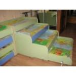 Кровать 4-х ярусная (цветные фасады)  ( цвет по желанию) 1540*690*800